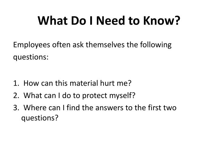What Do I Need to Know?