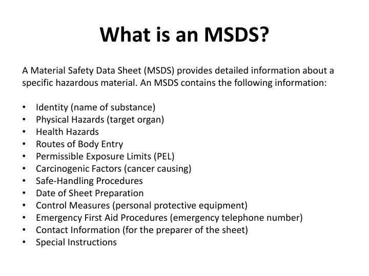 What is an MSDS?