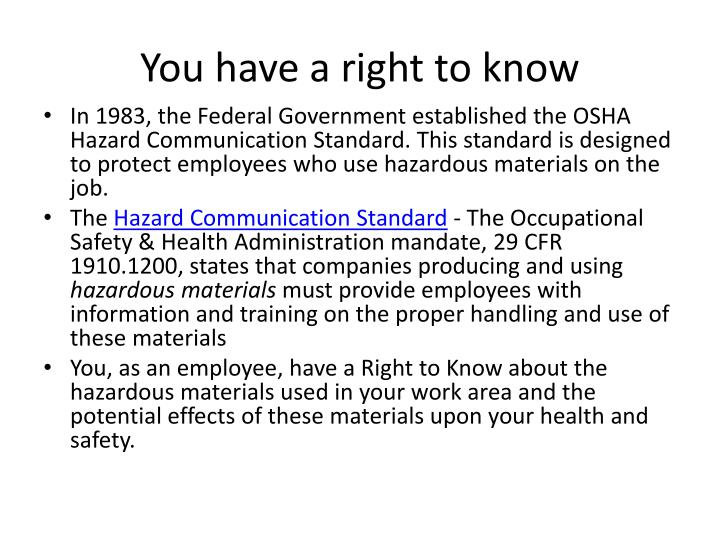 You have a right to know
