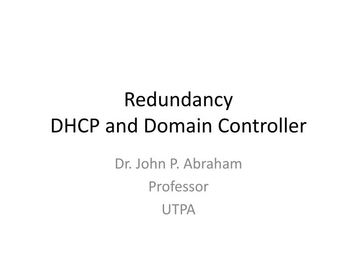 redundancy dhcp and domain controller n.