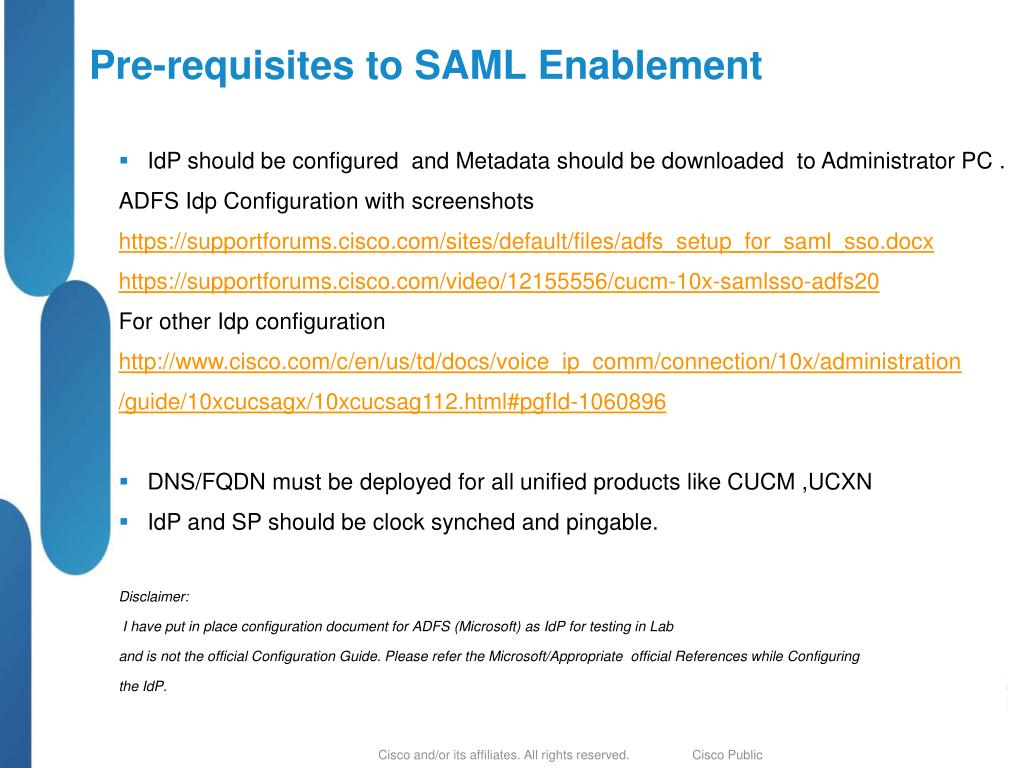 PPT - (SAML) Single Sign-On (SSO) for Cisco Unified Communications