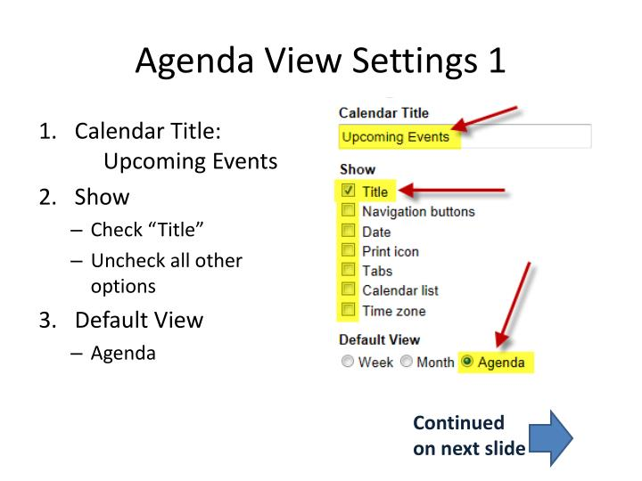 Agenda View Settings 1