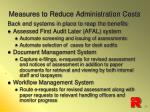 measures to reduce administration costs