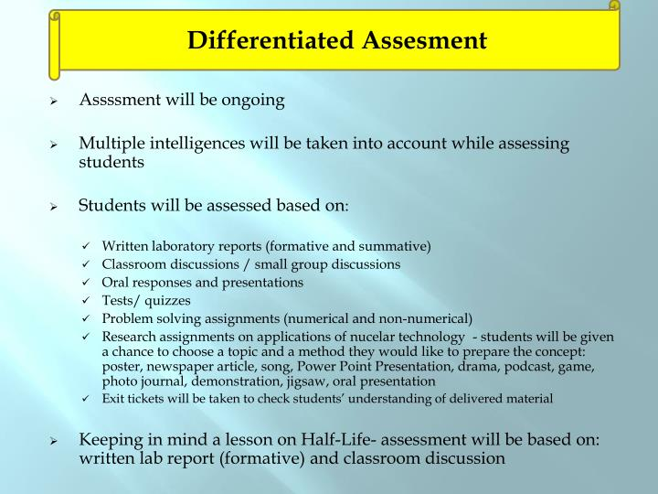 Differentiated Assesment
