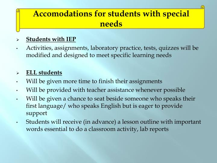 Accomodations for students with special needs
