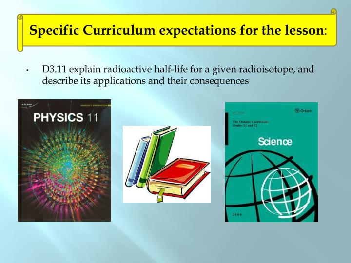 Specific Curriculum expectations for the lesson