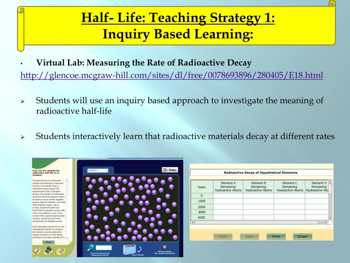 Half- Life: Teaching Strategy 1: