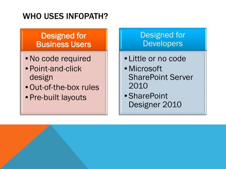 Who uses infopath