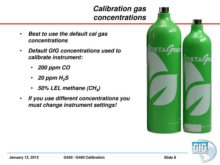 Calibration gas concentrations