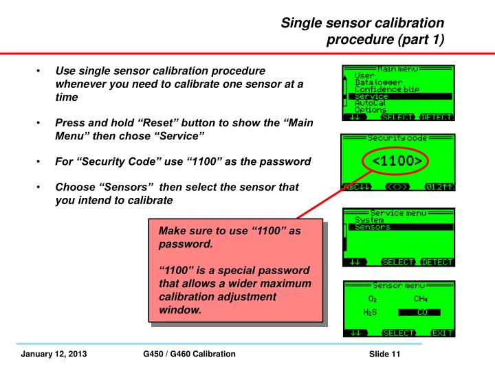 Single sensor calibration procedure (part 1)