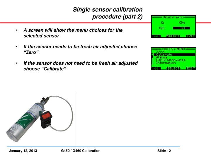 Single sensor calibration procedure (part 2)