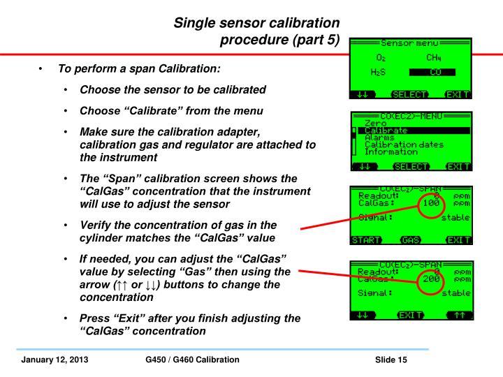Single sensor calibration procedure (part 5)