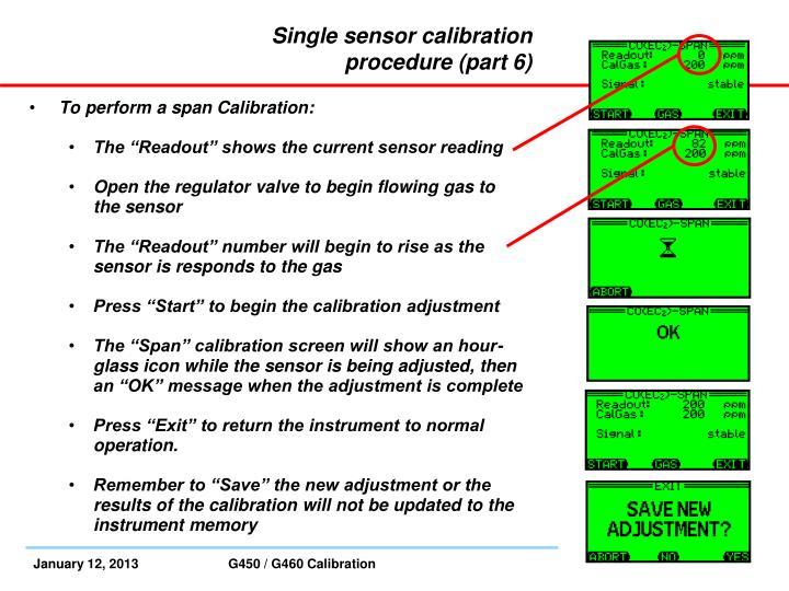 Single sensor calibration procedure (part 6)