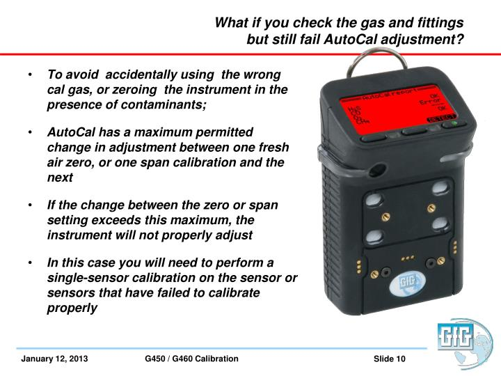 What if you check the gas and fittings but still fail