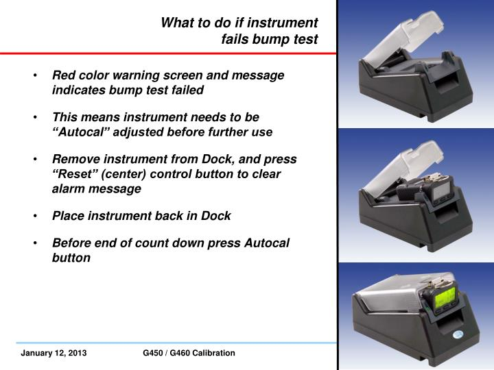 What to do if instrument fails bump test