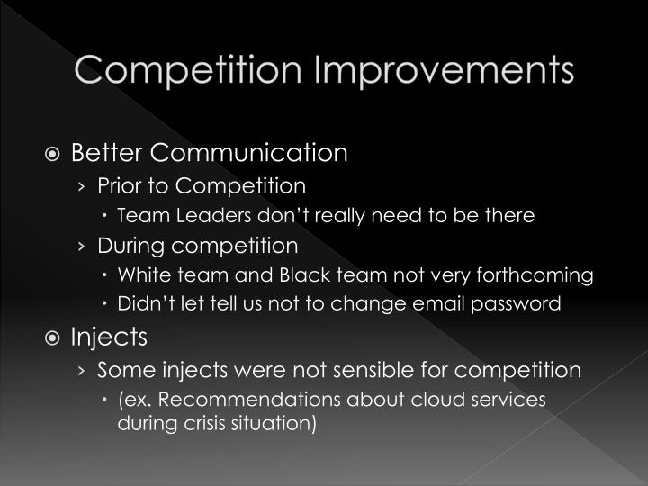 Competition Improvements
