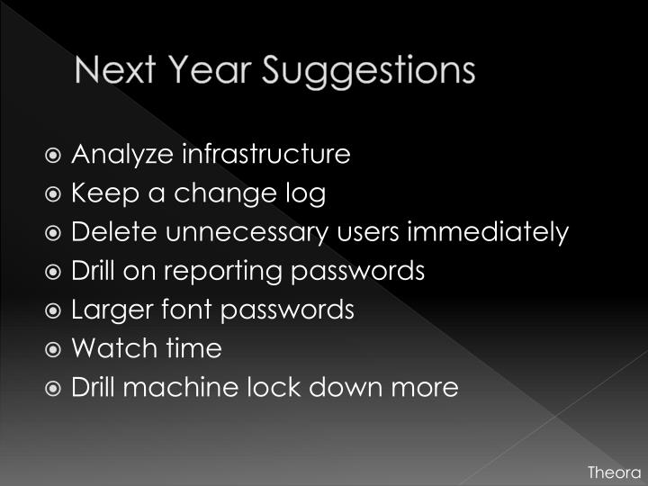 Next Year Suggestions