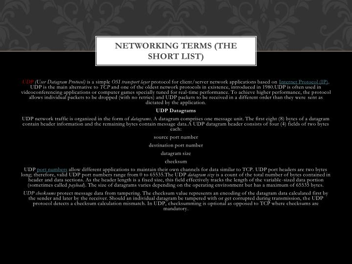 Networking Terms (The Short List)