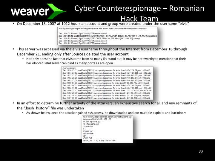 Cyber Counterespionage – Romanian Hack Team