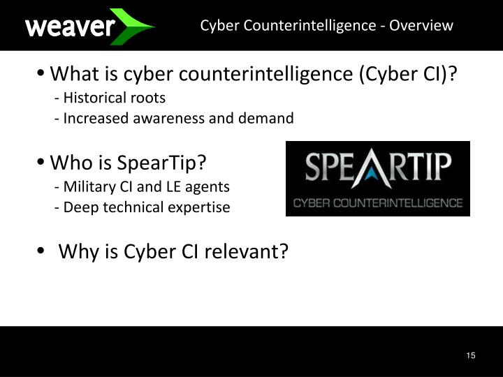 Cyber Counterintelligence - Overview