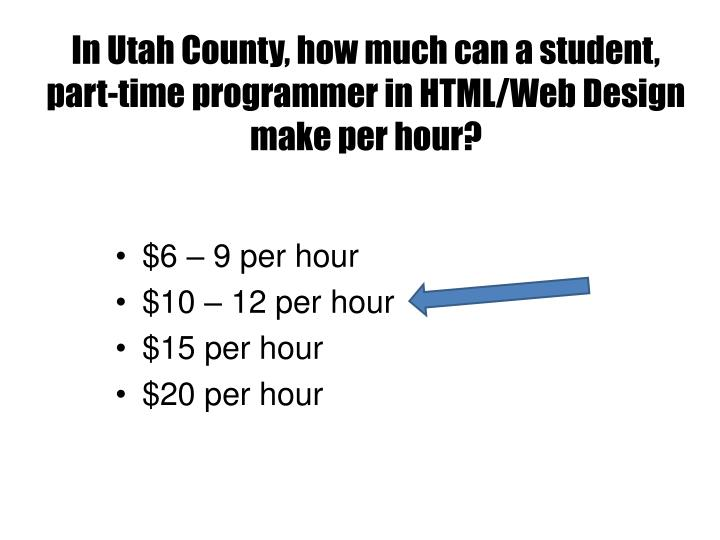 In Utah County, how much can a student, part-time programmer in HTML/Web Design make per hour?