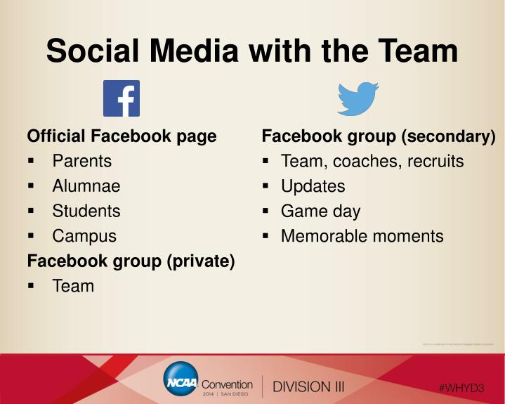 Social Media with the Team