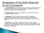 breakdown of the skills required by a2 coursework