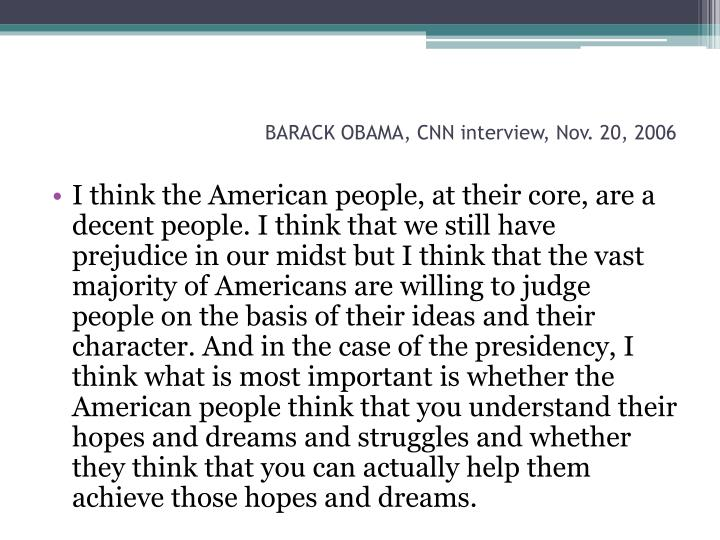 Barack obama cnn interview nov 20 2006