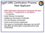 dbe certification process new applicant