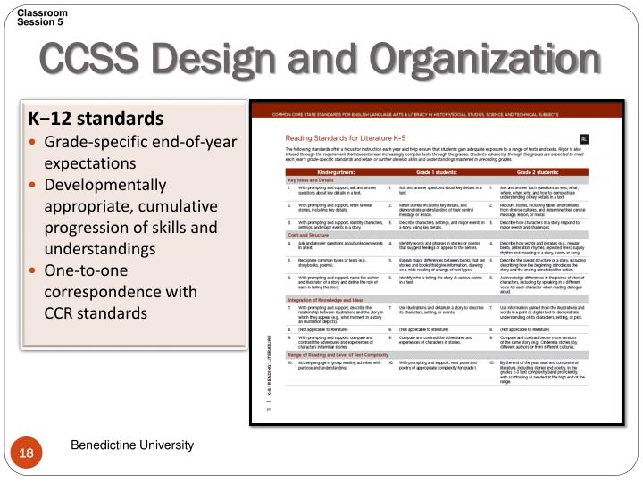 CCSS Design and Organization