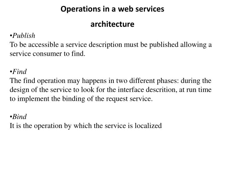 Operations in a web services