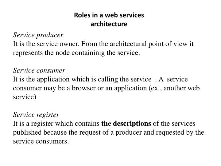 Roles in a web services