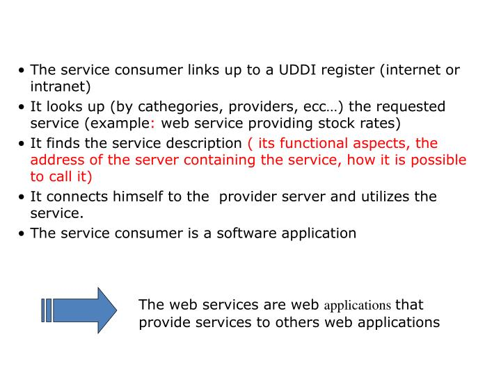 The service consumer links up to a UDDI register (internet or intranet)