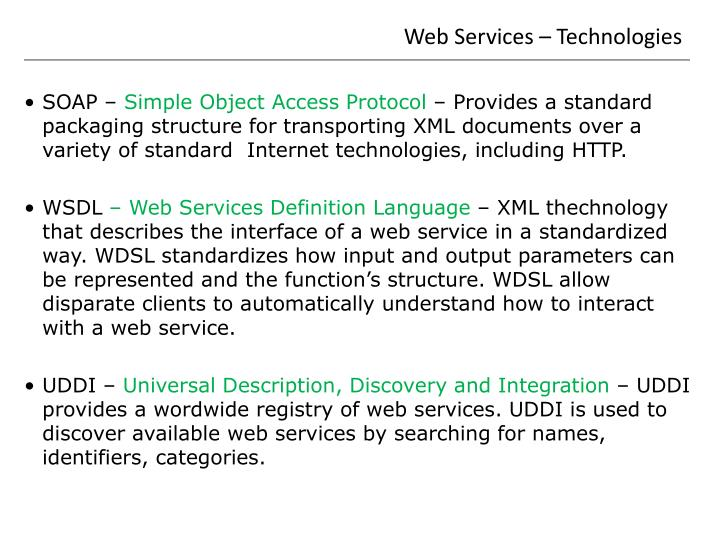 Web Services – Technologies