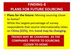 finding 8 plans for future sourcing