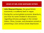 views of mr john maynard keynes