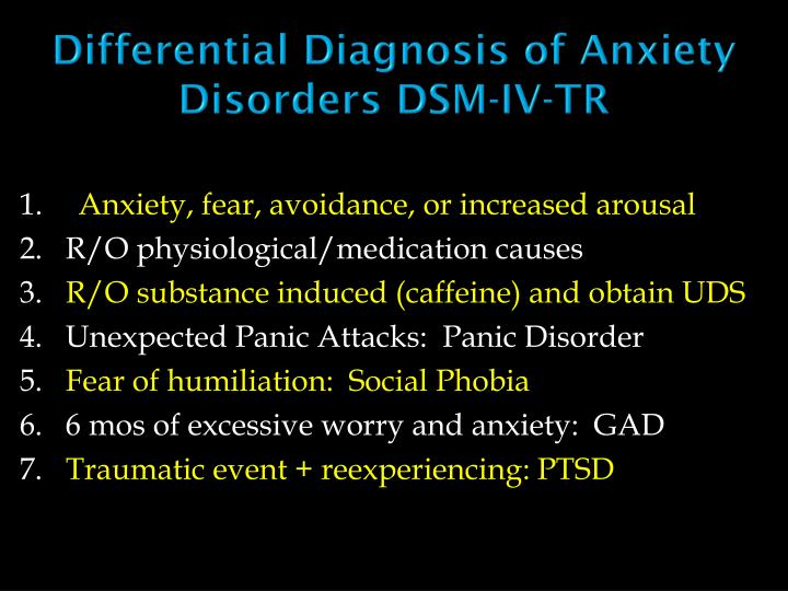 Differential Diagnosis of Anxiety Disorders DSM-IV-TR