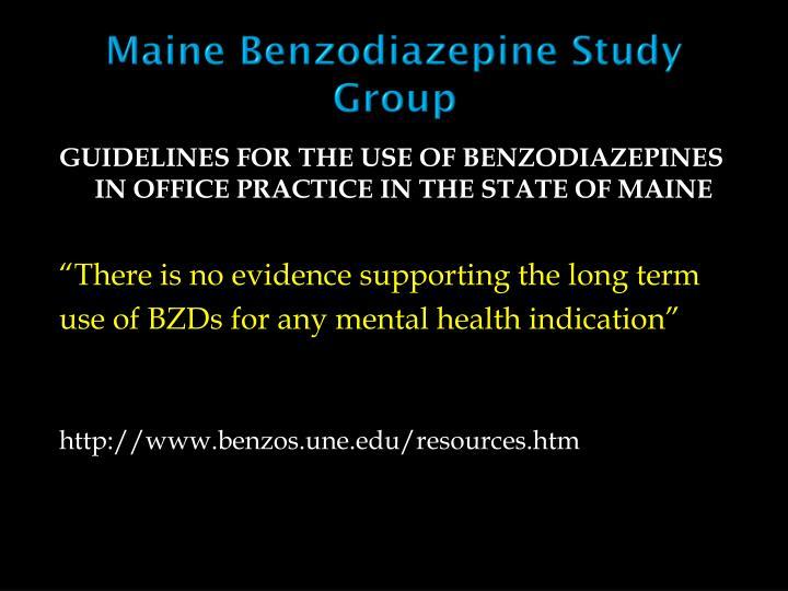 Maine Benzodiazepine Study Group