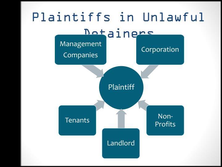 Plaintiffs in Unlawful Detainers
