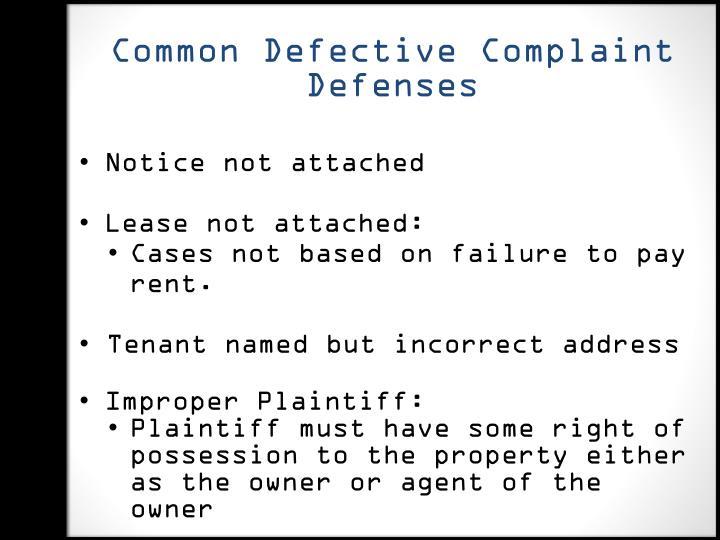Common Defective Complaint Defenses