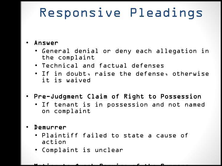 Responsive Pleadings