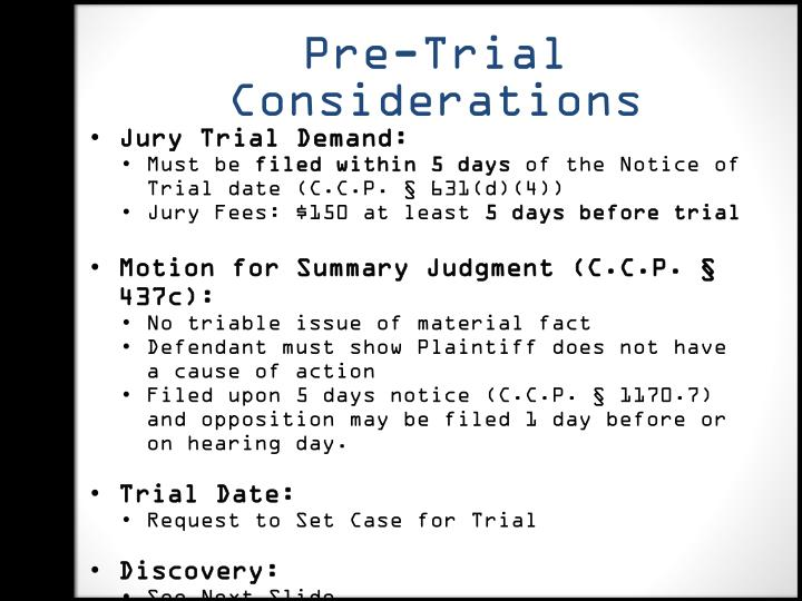 Pre-Trial Considerations