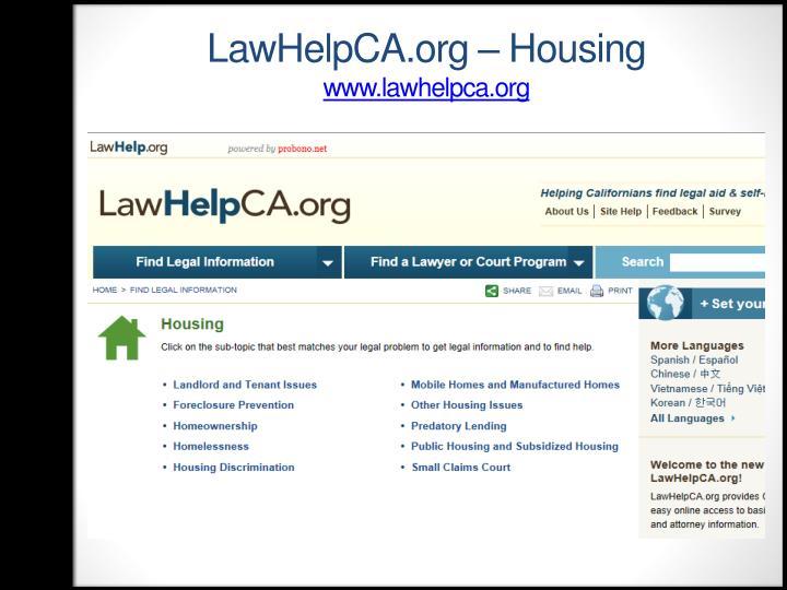 LawHelpCA.org – Housing