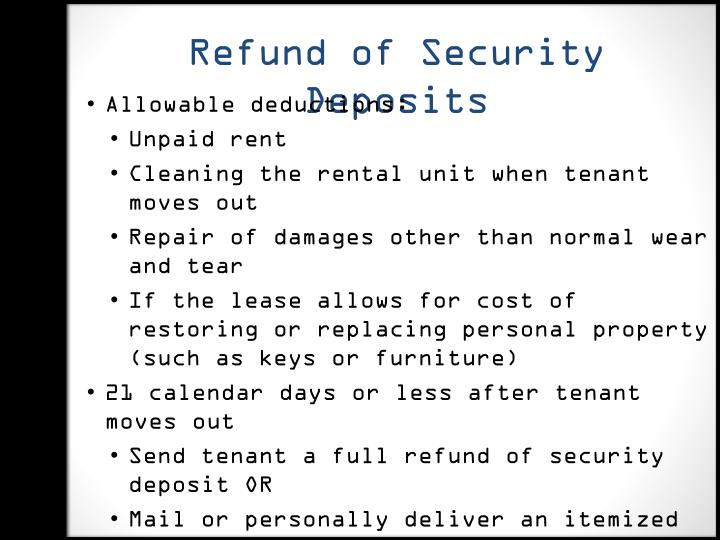 Refund of Security Deposits