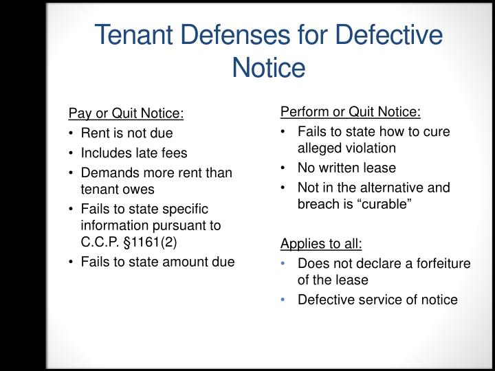 Tenant Defenses for Defective Notice