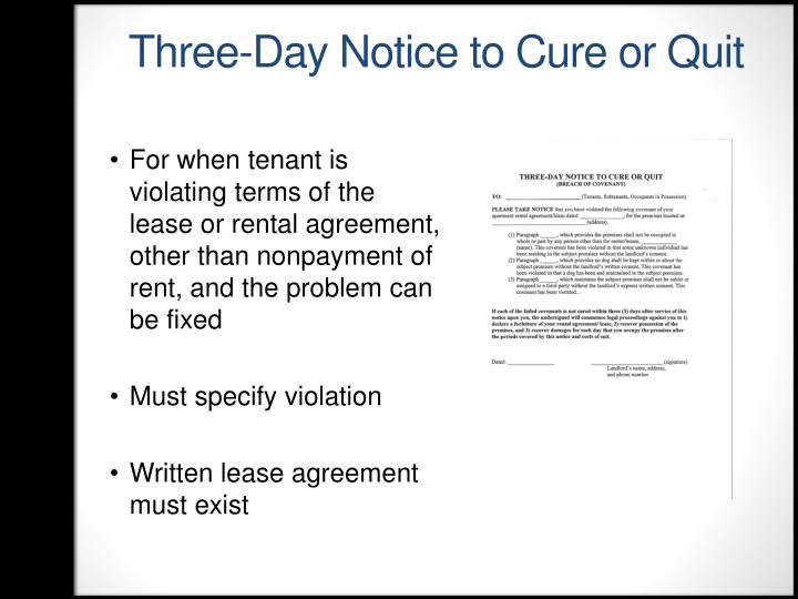 Three-Day Notice to Cure or Quit