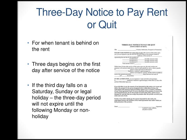 Three-Day Notice to Pay Rent