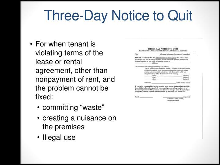 Three-Day Notice to Quit
