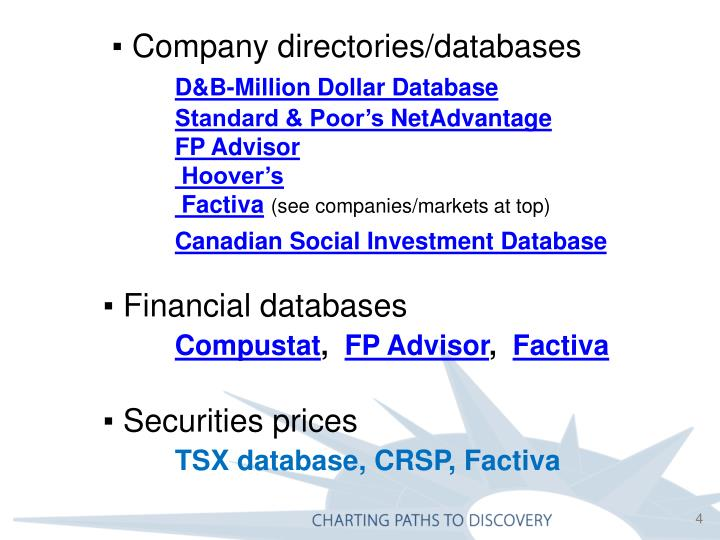 ▪ Company directories/databases
