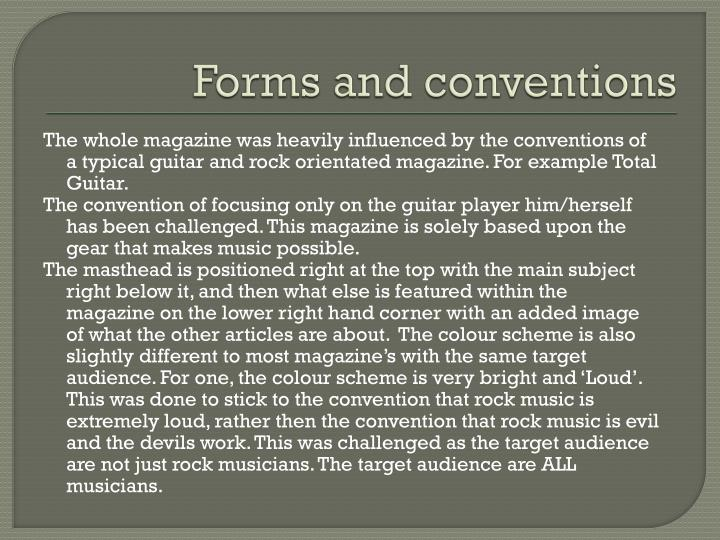 Forms and conventions